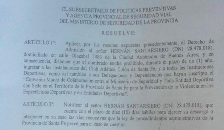 Colón publicó el derecho de admisión contra Santarsiero